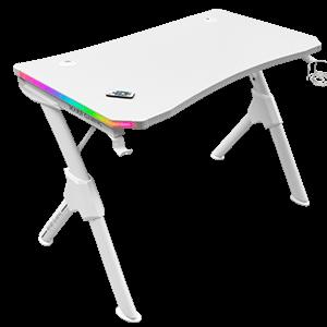 MARSGAMING MGD RGB GAMING DESK- RGB CHROMA- CARBON FIBER- HEADSET & CUP HDR- WHITE - Mesa Gaming
