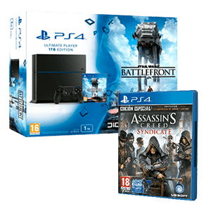 PlayStation 4 1Tb + Star Wars Battlefront + Assassin's Creed Syndicate