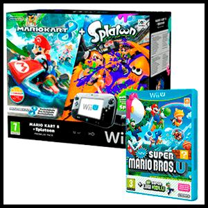 WIIU Premium Pack 32Gb + Mario Kart 8 + Splatoon + New Super Mario Bros U + New Super Luigi U