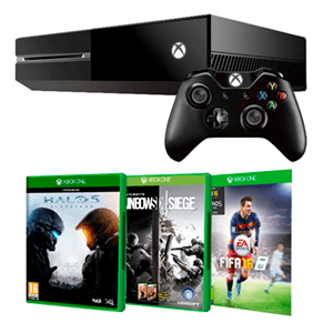 Xbox One 500Gb + FIFA 16 + Halo 5 + Rainbow Six Siege