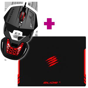 Mad Catz RAT1 Negro-Rojo + Mad Catz GLIDE 4 Gaming Surface