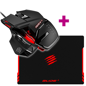 Mad Catz RAT4 Optical Gaming Mouse + Mad Catz GLIDE 4 Gaming Surface