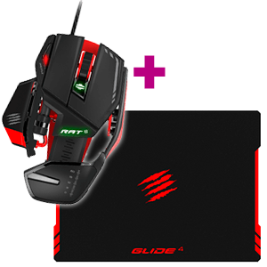 Mad Catz RAT6 Laser Gaming Mouse + Mad Catz GLIDE 4 Gaming Surface