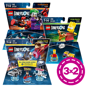 3x2 en Packs Figuras LEGO Dimensions