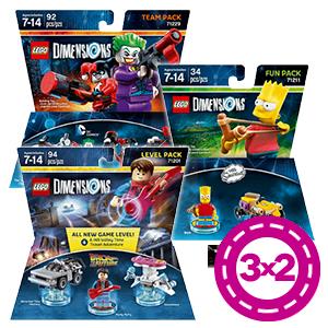 3x2 en Packs Figuras LEGO Dimensions