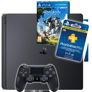 Playstation 4 slim 500gb negra - Psn plus 3 meses ...