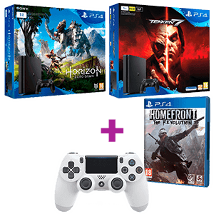 PlayStation 4 Slim 1TB + Homefront the Revolution + 2º DualShock 4 (blanco) de regalo