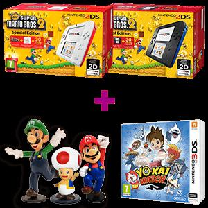 Nintendo 2DS + New Super Mario Bros 2 a elegir + YO-KAI WATCH + Figura Surtido Mario