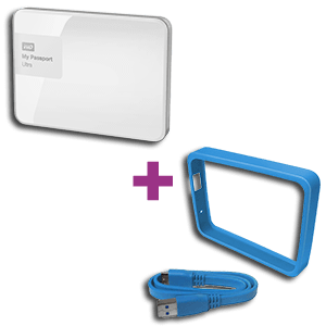 Western Digital My Passport Ultra 3TB Blanco + Funda Grid My Passport Azul Cielo