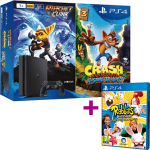PS4 Slim 1TB + Crash Bandicoot + Ratchet & Clank + Rabbids Invasion