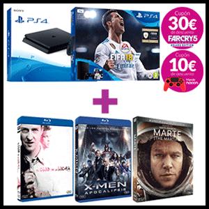 PlayStation 4 (Slim o Pro) + 3 películas Blu-Ray a elegir