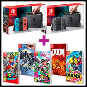 Nintendo Switch Gris o Azul-Rojo Neón + juego a elegir