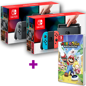 Nintendo Switch (Gris o Rojo-Azul Neón) + Mario+Rabbids Kingdom Battle