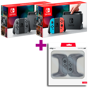 Nintendo Switch (Gris o Rojo-Azul Neón) + Set de 2 grips y protectores para Joy-Con de regalo