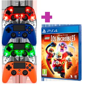 Mando Nacon PS4 con cable a elegir + Juego PS4 Los Increíbles