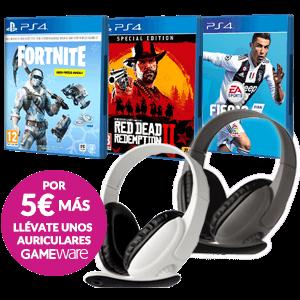 Juego PS4 a elegir + Auriculares GAMEware por 5 euros más