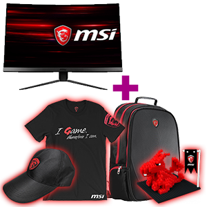 Monitor MSI a elegir + pack MSI (mochila, gorra, camiseta y dragón pixel bricks) de regalo
