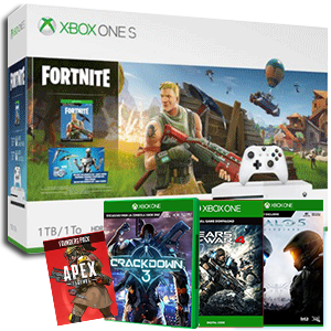 Xbox One S + Crackdown 3 + Gears of War 4 + Halo 5 Guardians + Apex Legends Founders Pack