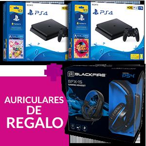 Playstation 4 Slim 1TB + 12 meses PS Plus + juego a elegir + Auriculares Ardistel Blackfire BFX-15