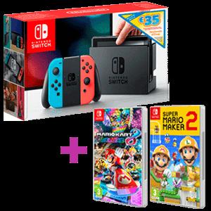 Nintendo Switch + 35€ de eshop + Juego Mario a elegir