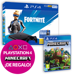PlayStation 4 Slim 500GB + Fortnite + Minecraft Bedrock Edition
