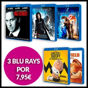 3 Películas Blu-Ray por 7,95 euros
