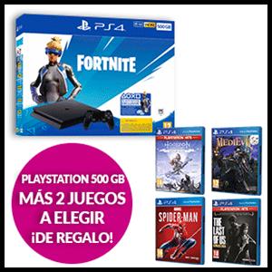 Consola PlayStation 4 Slim 500GB + 2 juegos a elegir de regalo