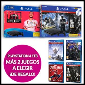 Consola Playstation 4 Slim 1TB + 2 juegos a elegir de regalo