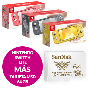 Nintendo Switch Lite + Tarjeta de memoria MSD 64 Gb
