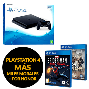 PlayStation 4 500GB + Marvel´s Spider-Man Miles Morales + For Honor