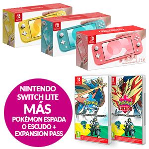Nintendo Switch Lite + Pokémon Espada o Escudo + Pase de expansión