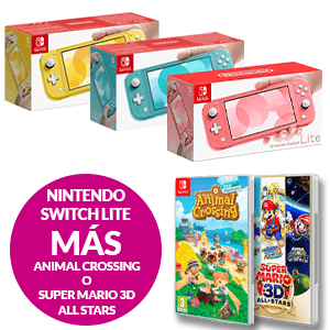 Nintendo Switch Lite + Animal Crossing o Super Mario 3D All Stars
