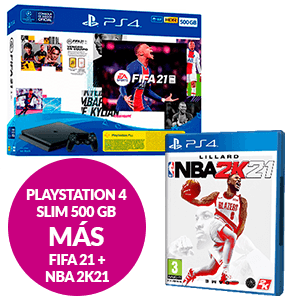 PlayStation 4 Slim 500GB + FIFA 21 + NBA 2K21