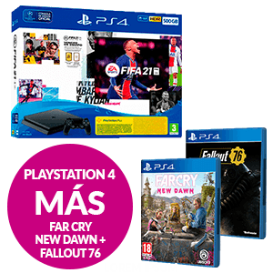 PlayStation 4 Slim 500GB + FIFA 21 + Fallout 76 + Far Cry New Dawn