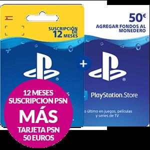 Tarjeta PS PLUS 12 Meses + Tarjeta Prepago 50€