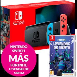Nintendo Switch Azul Neon Rojo Neon + Fortnite Leyendas de Menta