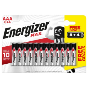 BLISTER 8 + 4 PILAS MAX TIPO LR03 (AAA) ENERGIZER