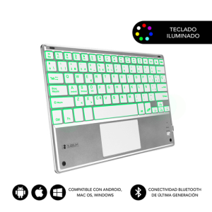 SUBBLIM Teclado Bluetooth Smart Backlit BT Keyboard Touchpad Silver