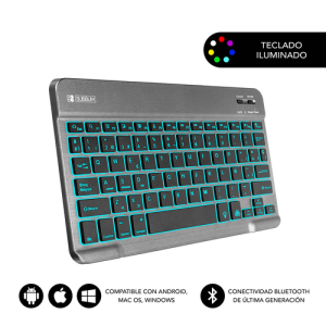 SUBBLIM Teclado Bluetooth Smart Backlit BT Keyboard Touchpad Grey
