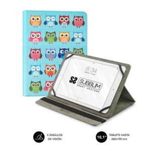 SUBBLIM Funda Tablet Universal TRENDY CASE OWLS 10.1""