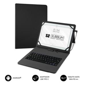 """SUBBLIM Funda con Teclado Micro USB - USB C KEYTAB PRO USB 10,1"""" Black"""