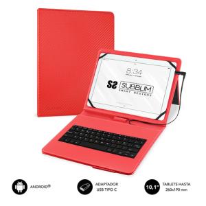 Subblim Keytab Pro 10.1'' Funda con Teclado Micro USB - USB C Rojo - Funda