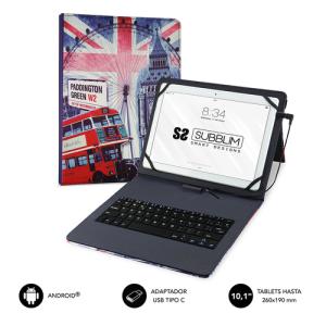 "SUBBLIM Funda con Teclado Micro USB - USB C KEYTAB USB 10,1"" England"