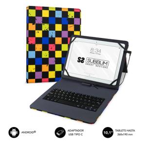 """SUBBLIM Funda con Teclado Micro USB - USB C KEYTAB USB 10,1"""" Squares"""