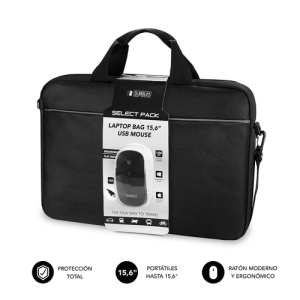 """SUBBLIM Maletín con Ratón Select Pack Wired Mouse USB + Laptop bag 15,6"""""""