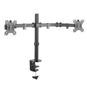 """TooQ Soporte de Mesa Giratorio e Inclinable para 2 Pantallas (Monitor / TV Plasma / LCD / LED) 13"""" – 32"""", de Dos Brazos, Negro"""