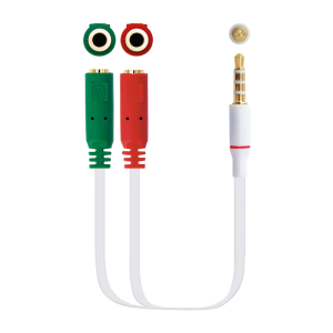 Nanocable Cable adaptador Audio Jack 3.5/M 4pines - 2xJack 3.5/H 3pines, blanco, 20 cm