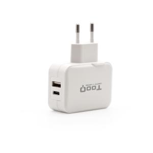 TooQ Cargador de Pared doble puerto USB-C + USB A, 27W