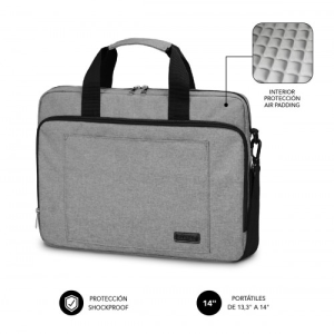 "SUBBLIM Maletín Ordenador Air Padding Laptop bag 13,3-14"" Grey"