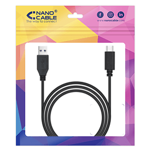 Nanocable 3.1 Gen2 10Gbps 3A, tipo USB-C/M-A/M, negro, 1.5 m